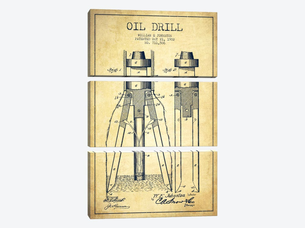 Oil Drill Vintage Patent Blueprint by Aged Pixel 3-piece Canvas Print