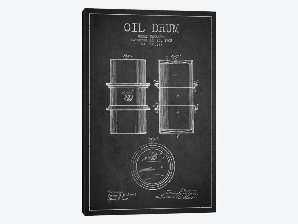 Oil Drum Charcoal Patent Blueprint by Aged Pixel 1-piece Canvas Artwork