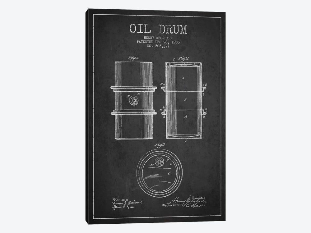 Oil Drum Charcoal Patent Blueprint by Aged Pixel 1-piece Canvas Artwork