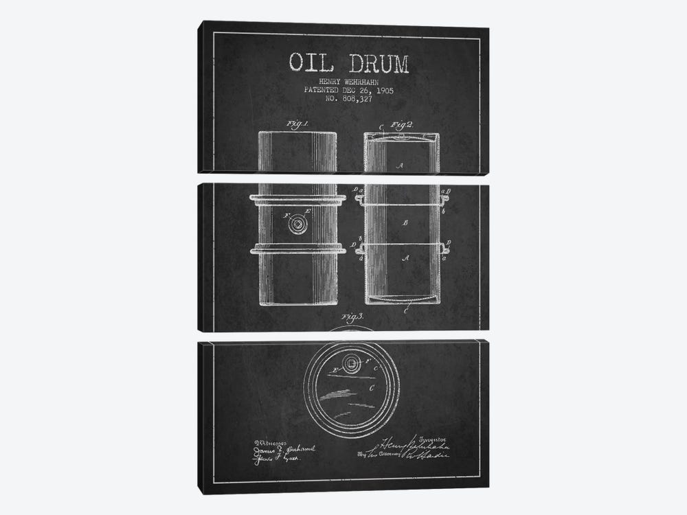 Oil Drum Charcoal Patent Blueprint by Aged Pixel 3-piece Canvas Art