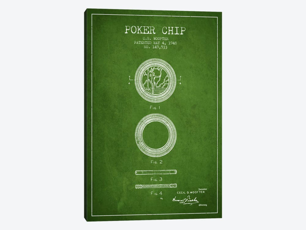 Poker Chip 2 Green Patent Blueprint by Aged Pixel 1-piece Canvas Artwork