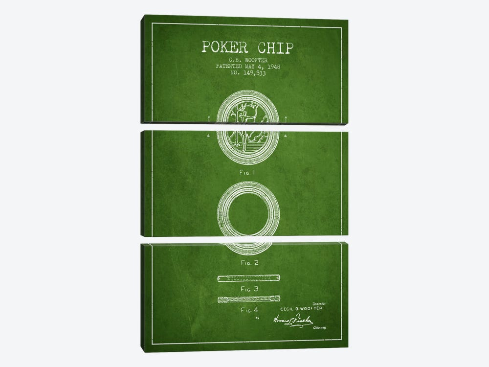 Poker Chip 2 Green Patent Blueprint by Aged Pixel 3-piece Canvas Artwork