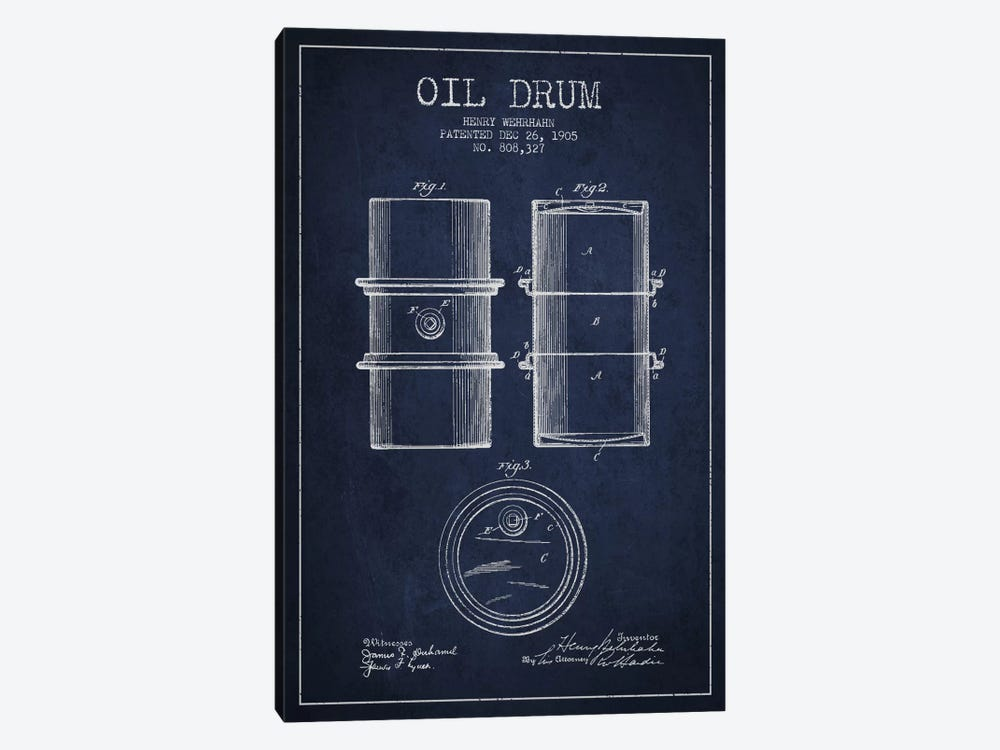 Oil Drum Navy Blue Patent Blueprint by Aged Pixel 1-piece Canvas Art Print