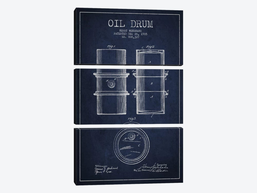 Oil Drum Navy Blue Patent Blueprint by Aged Pixel 3-piece Art Print