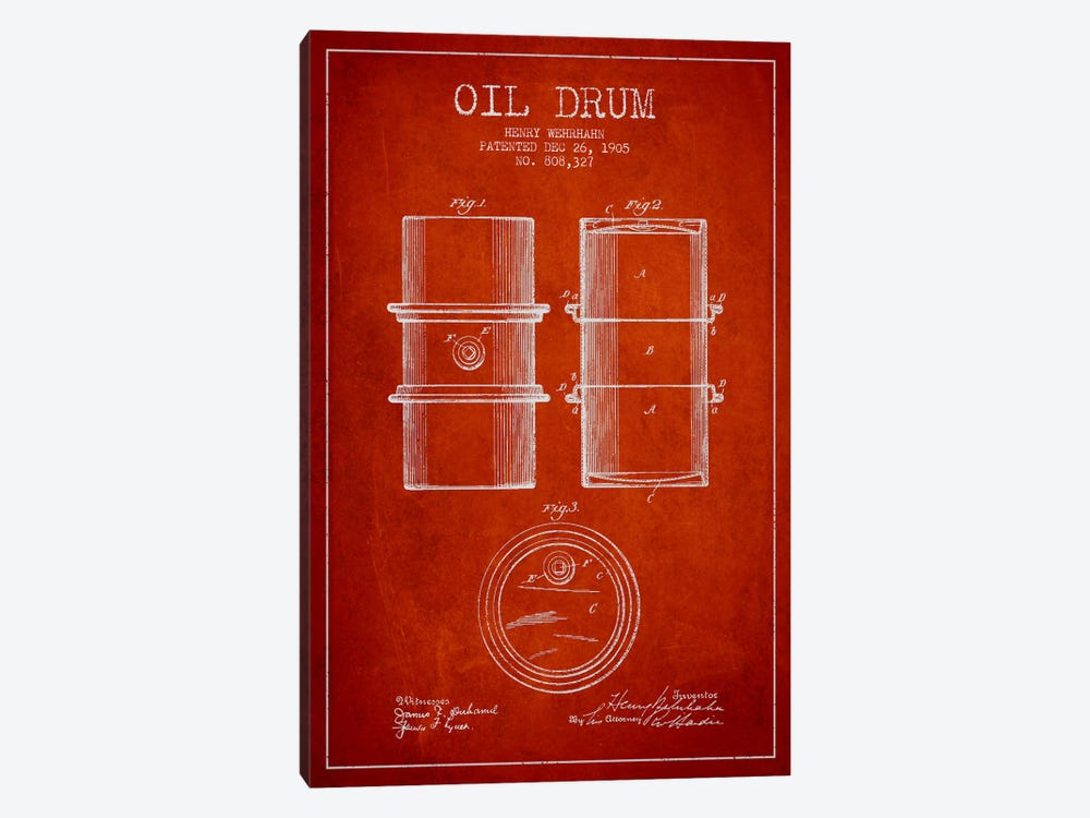 Oil Drum Red Patent Blueprint by Aged Pixel 1-piece Canvas Wall Art