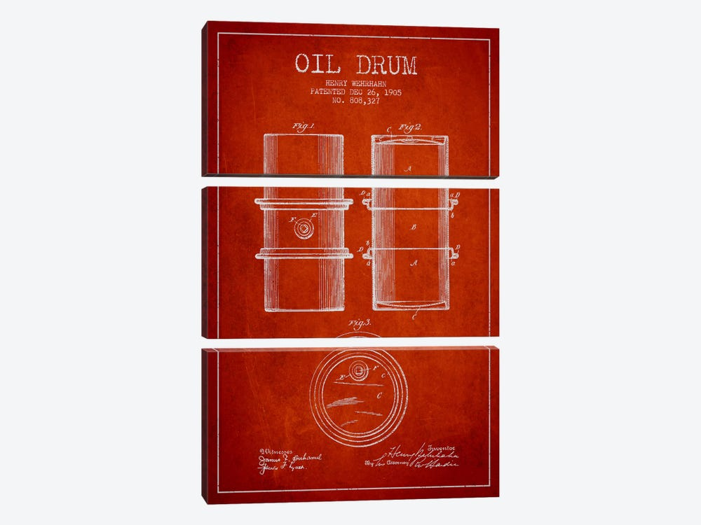 Oil Drum Red Patent Blueprint by Aged Pixel 3-piece Canvas Artwork