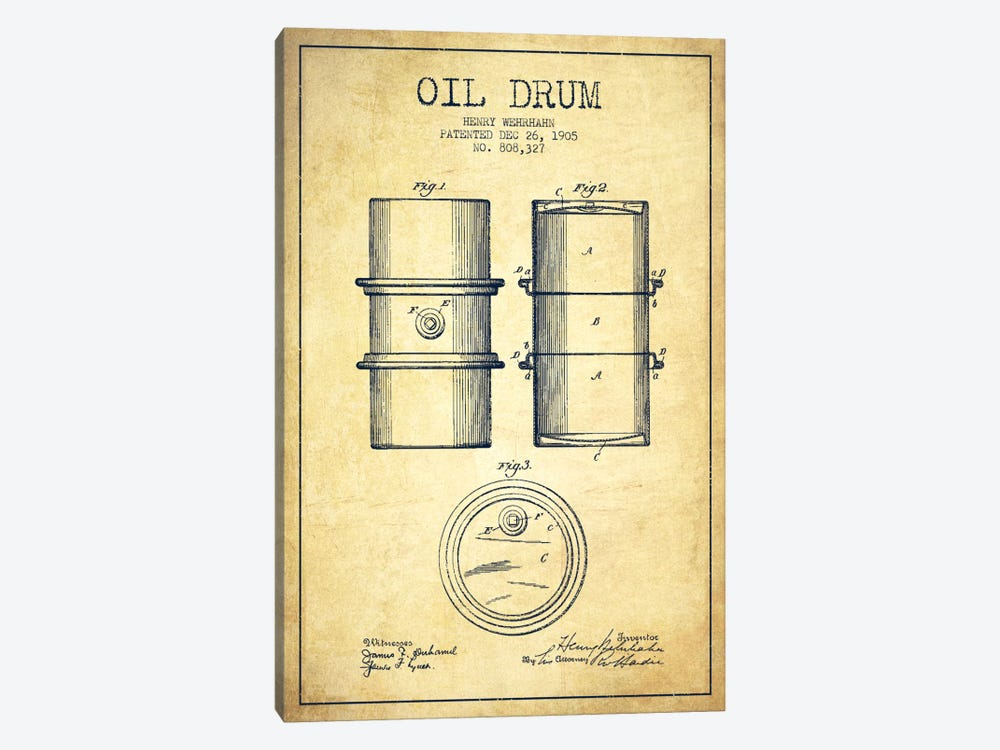 Oil Drum Vintage Patent Blueprint by Aged Pixel 1-piece Canvas Print