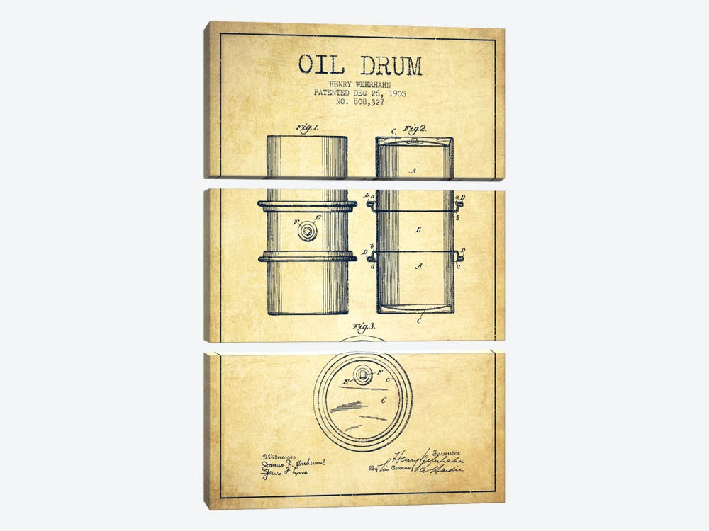 Oil Drum Vintage Patent Blueprint by Aged Pixel 3-piece Art Print