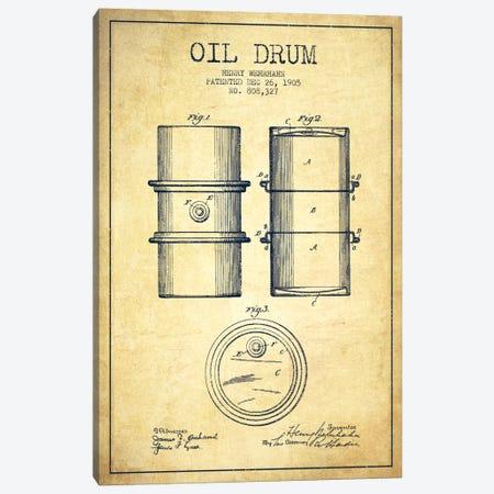Oil Drum Vintage Patent Blueprint Canvas Print #ADP1433} by Aged Pixel Art Print