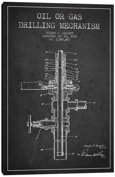 Oil Gas Mechanism Charcoal Patent Blueprint Canvas Art Print