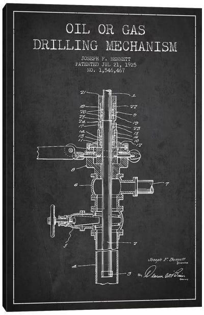 Oil Gas Mechanism Charcoal Patent Blueprint Canvas Art Print