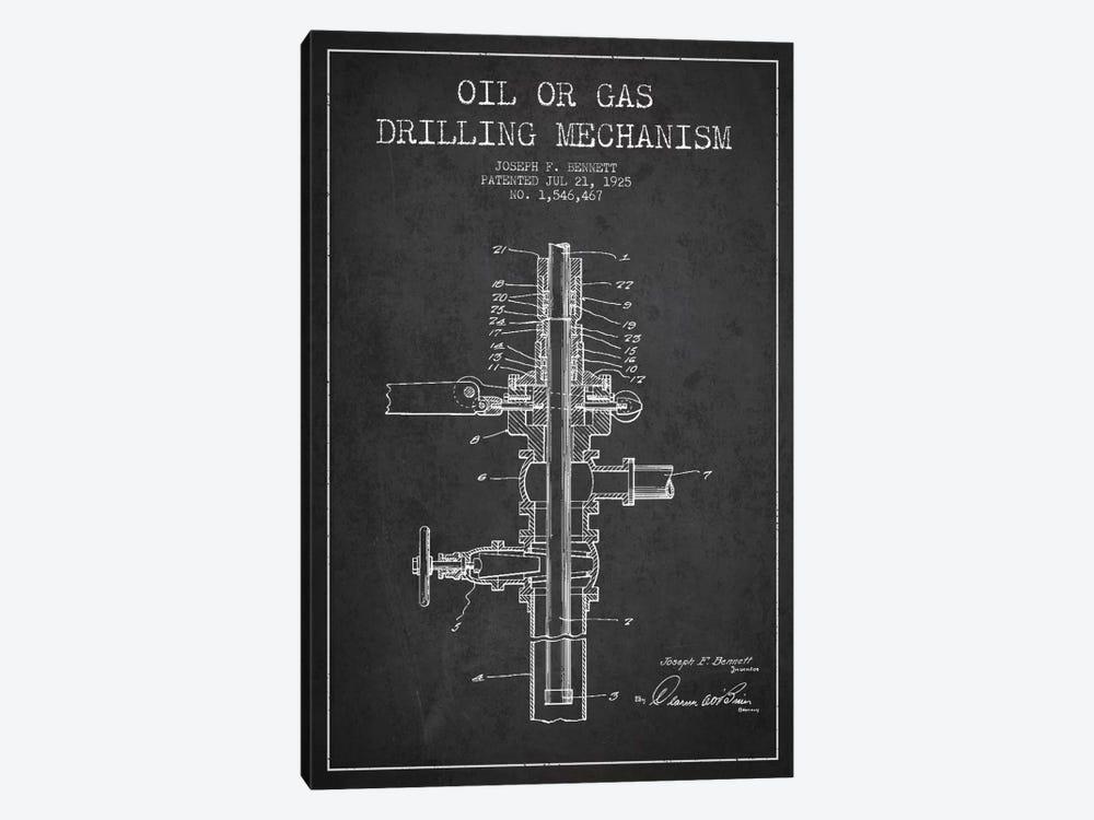 Oil Gas Mechanism Charcoal Patent Blueprint by Aged Pixel 1-piece Canvas Artwork