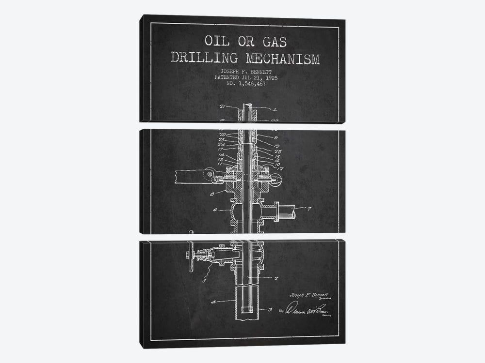 Oil Gas Mechanism Charcoal Patent Blueprint by Aged Pixel 3-piece Canvas Art