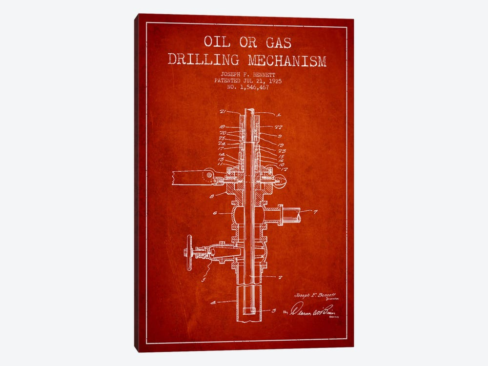 Oil Gas Mechanism Red Patent Blueprint by Aged Pixel 1-piece Canvas Art Print