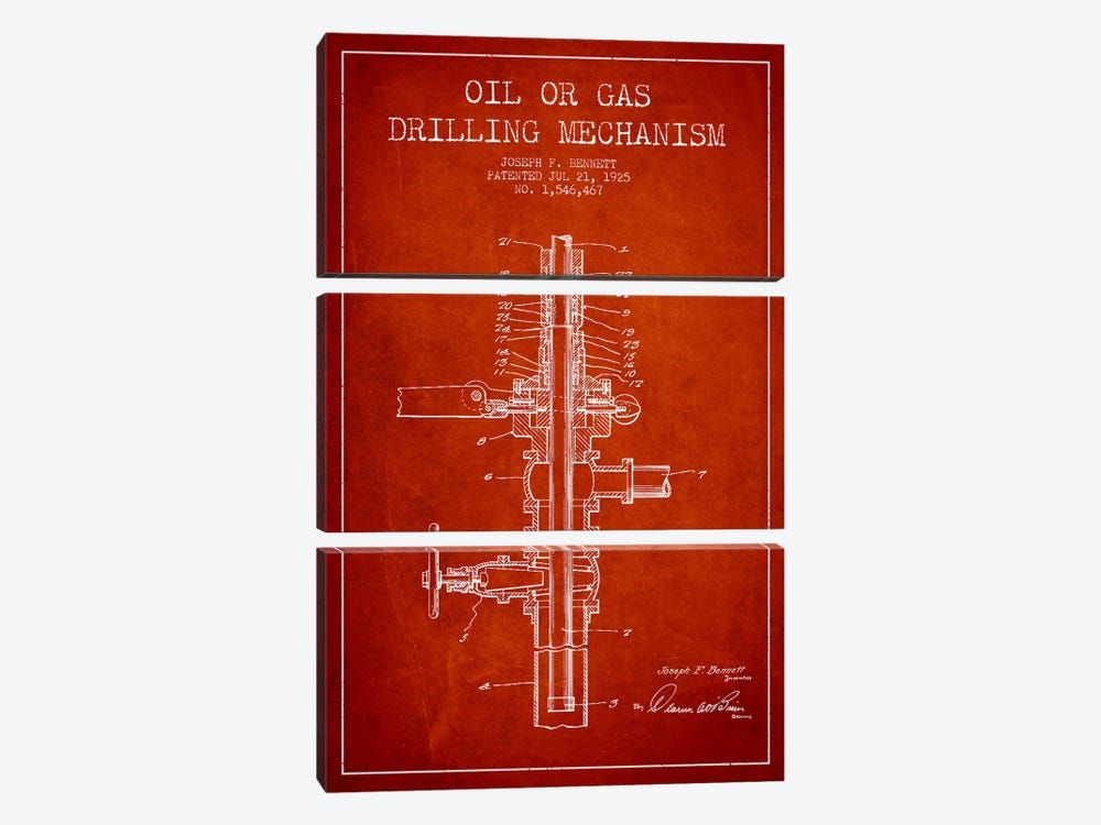Oil Gas Mechanism Red Patent Blueprint by Aged Pixel 3-piece Art Print