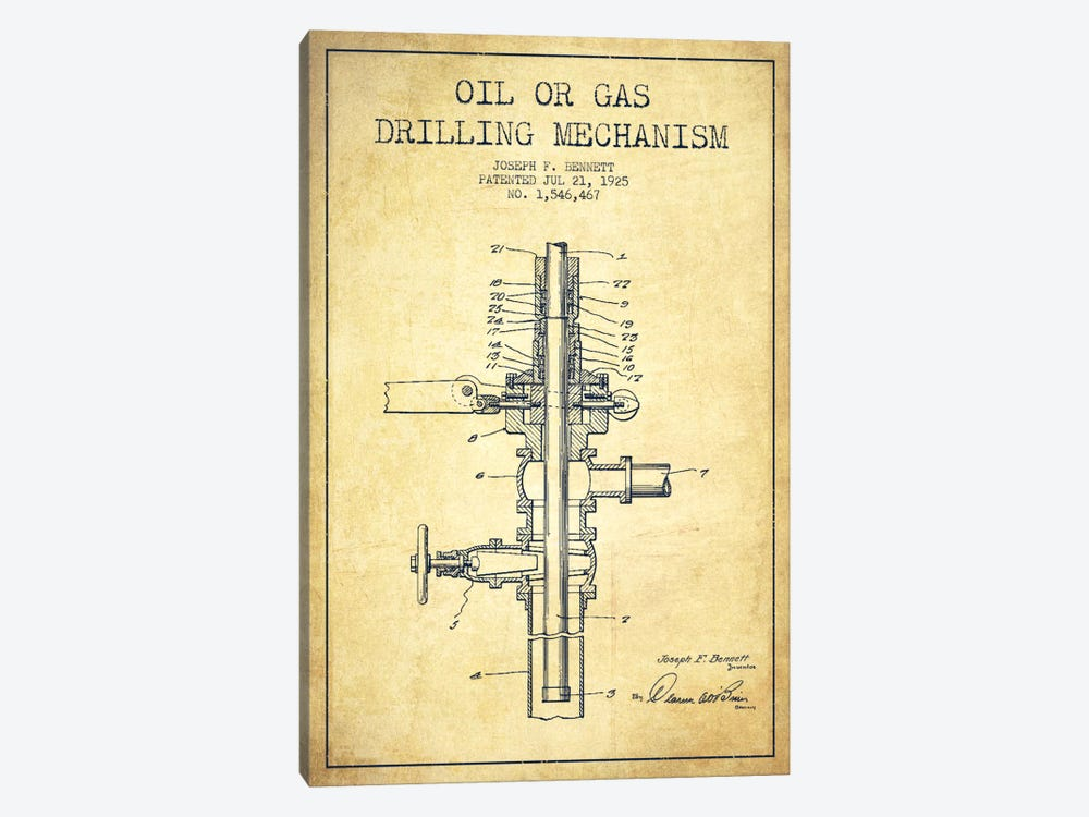 Oil Gas Mechanism Vintage Patent Blueprint by Aged Pixel 1-piece Canvas Artwork