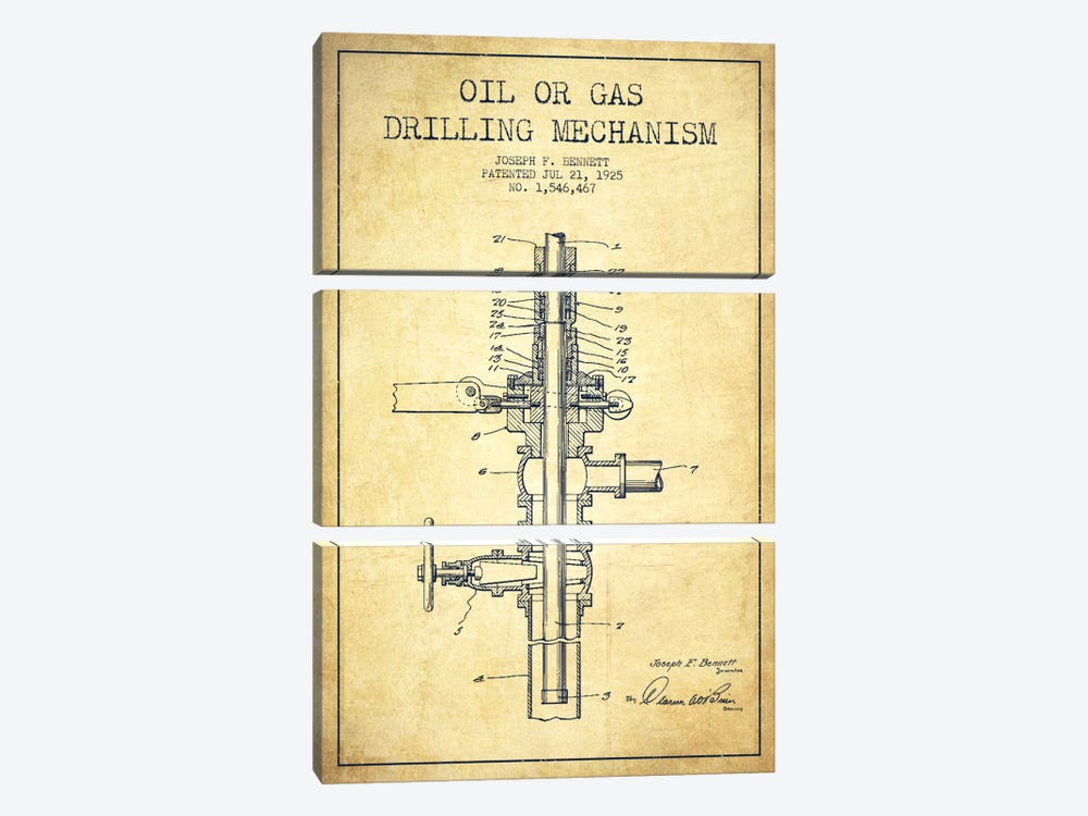 Oil Gas Mechanism Vintage Patent Blueprint by Aged Pixel 3-piece Canvas Artwork