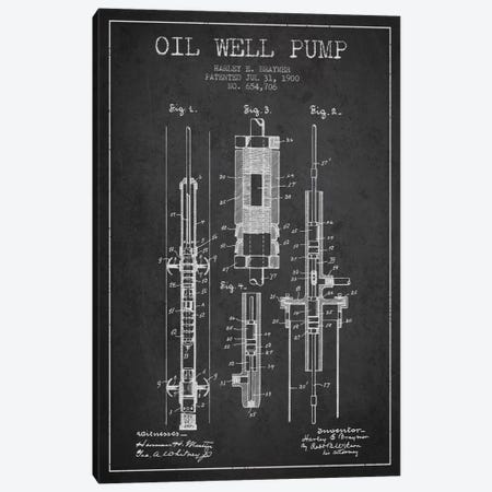 Oil Pump Charcoal Patent Blueprint Canvas Print #ADP1439} by Aged Pixel Canvas Print