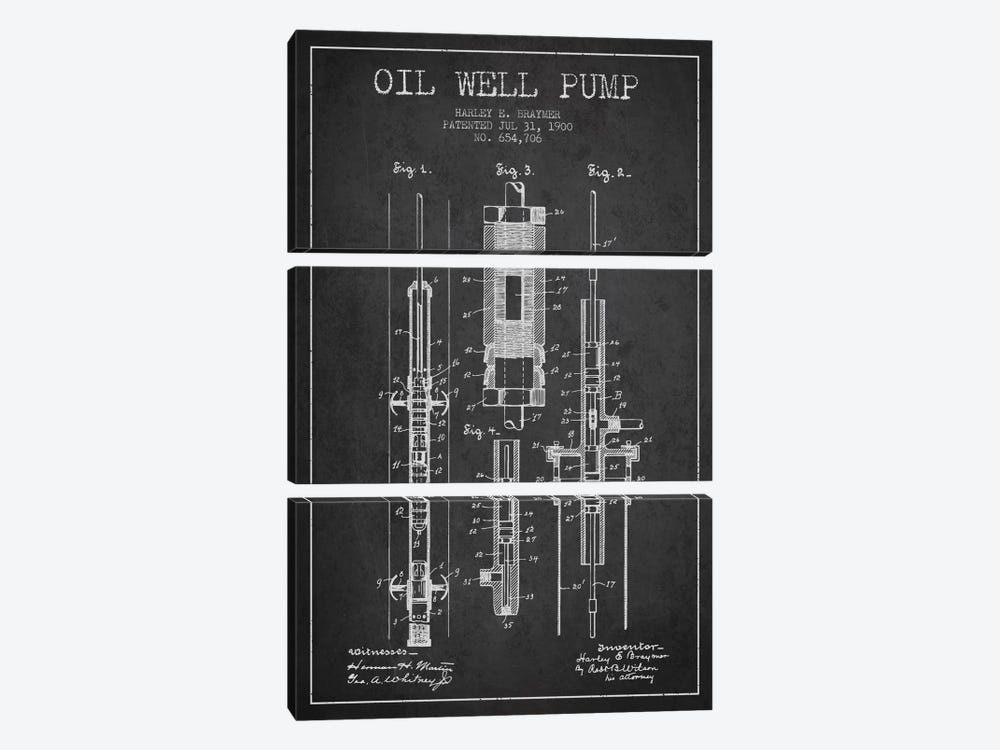 Oil Pump Charcoal Patent Blueprint by Aged Pixel 3-piece Canvas Art Print