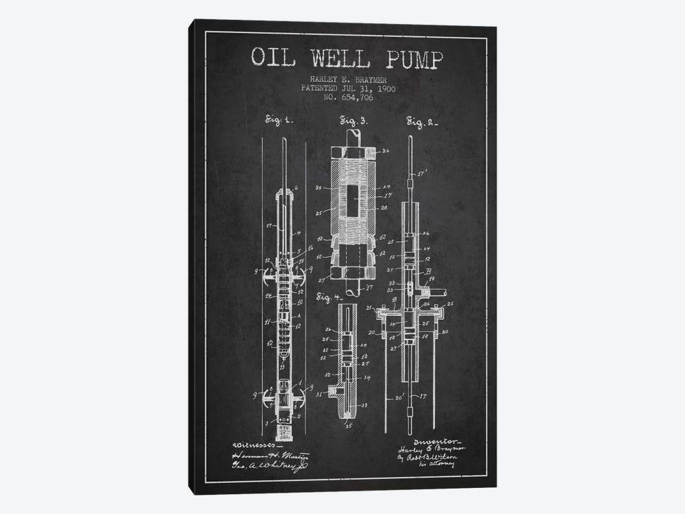 Oil Pump Charcoal Patent Blueprint by Aged Pixel 1-piece Art Print