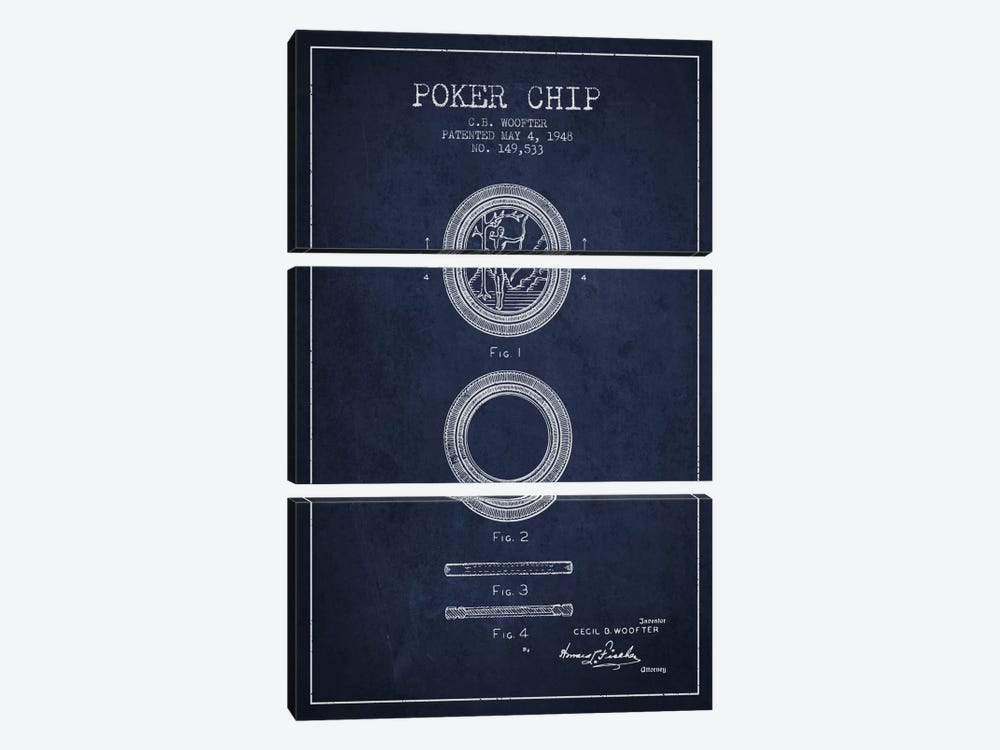 Poker Chip 2 Navy Blue Patent Blueprint by Aged Pixel 3-piece Art Print
