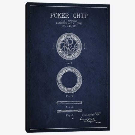 Poker Chip 2 Navy Blue Patent Blueprint Canvas Print #ADP143} by Aged Pixel Canvas Art