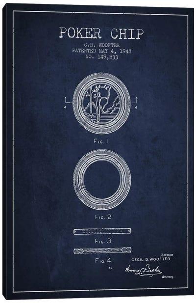 Poker Chip 2 Navy Blue Patent Blueprint Canvas Art Print