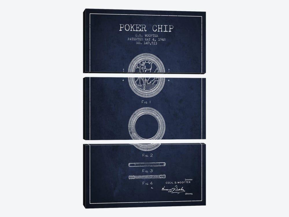 Poker Chip 2 Navy Blue Patent Blueprint by Aged Pixel 3-piece Art Print