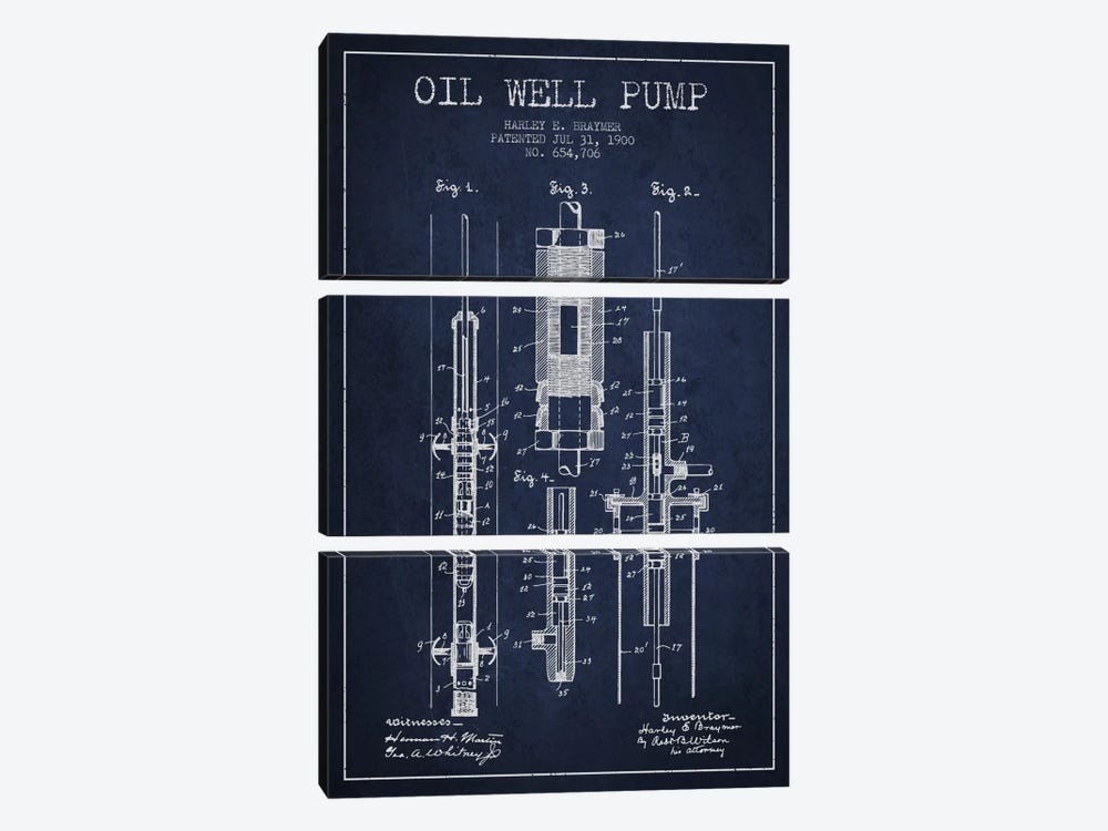 Oil Pump Navy Blue Patent Blueprint by Aged Pixel 3-piece Canvas Art