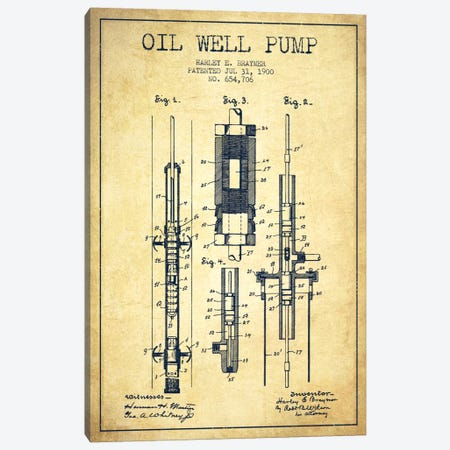 Oil Pump Vintage Patent Blueprint Canvas Print #ADP1443} by Aged Pixel Canvas Wall Art