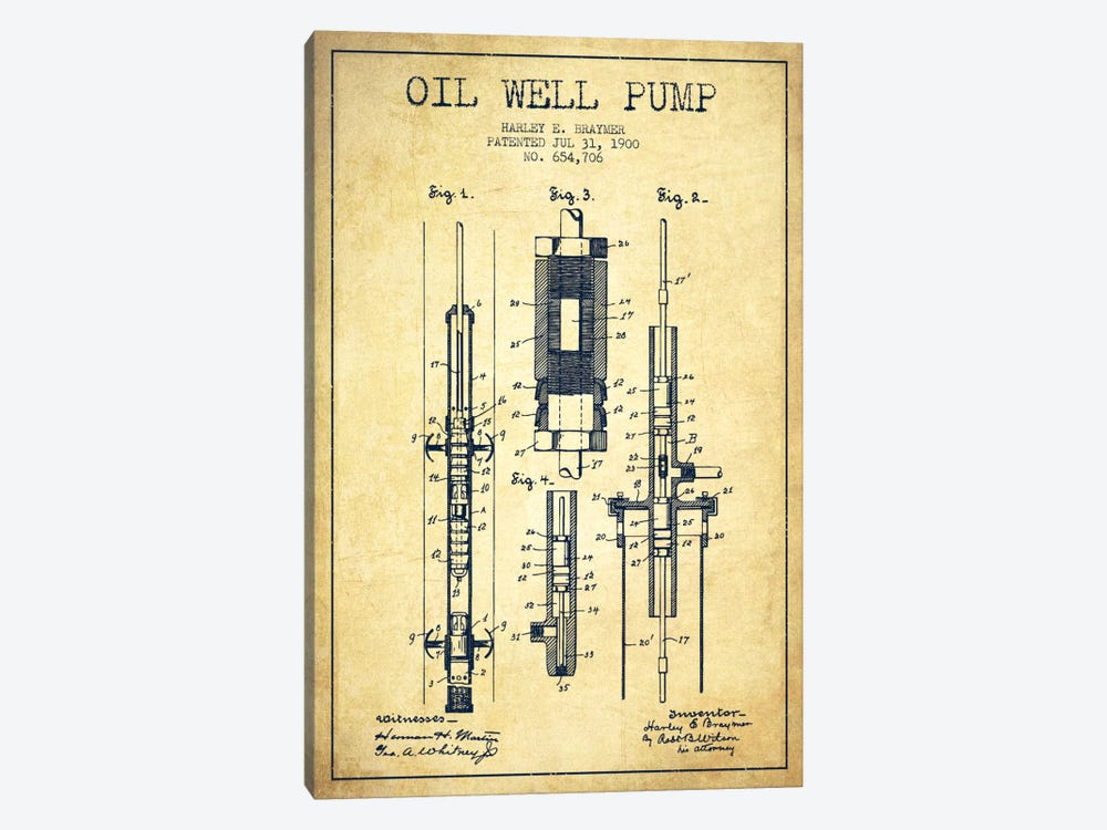Oil Pump Vintage Patent Blueprint by Aged Pixel 1-piece Canvas Art