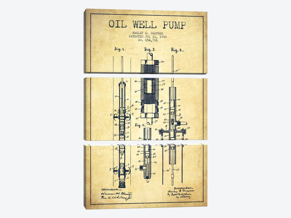 Oil Pump Vintage Patent Blueprint by Aged Pixel 3-piece Canvas Art