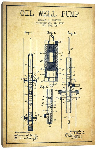 Oil Pump Vintage Patent Blueprint Canvas Art Print