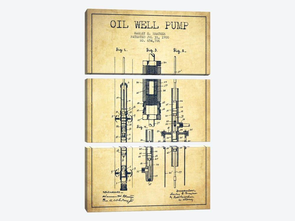 Oil Pump Vintage Patent Blueprint by Aged Pixel 3-piece Canvas Art