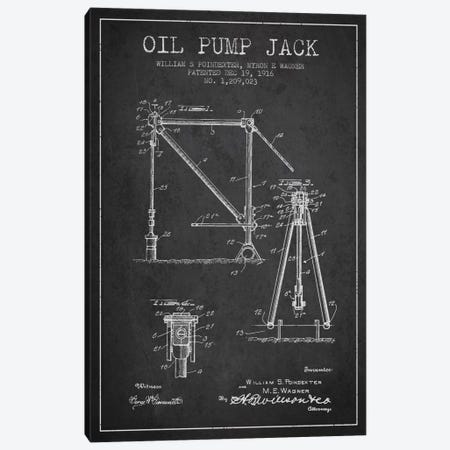 Oil Pump Jack Charcoal Patent Blueprint Canvas Print #ADP1444} by Aged Pixel Canvas Art Print