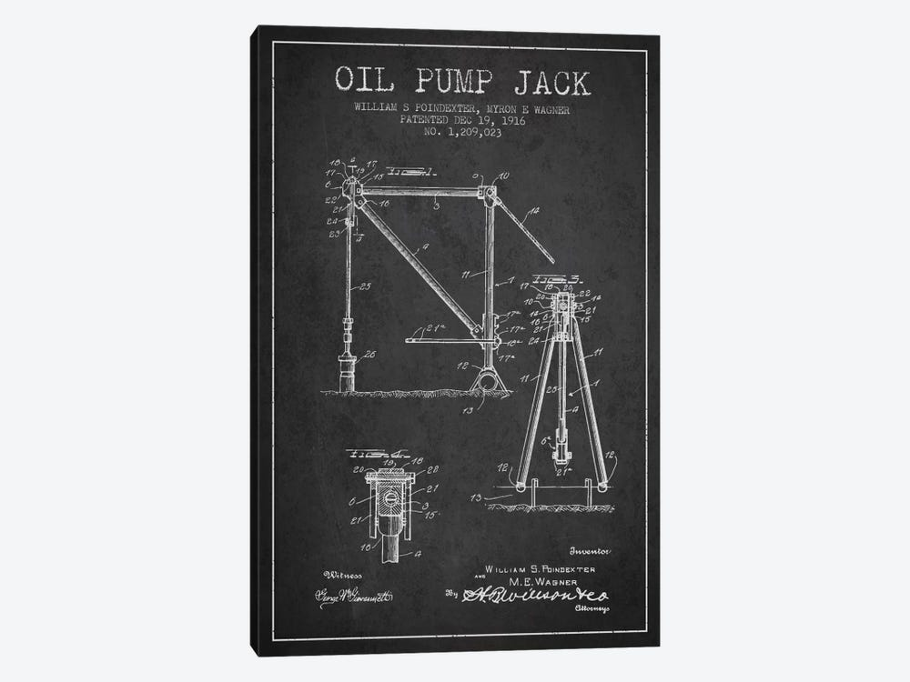 Oil Pump Jack Charcoal Patent Blueprint by Aged Pixel 1-piece Art Print