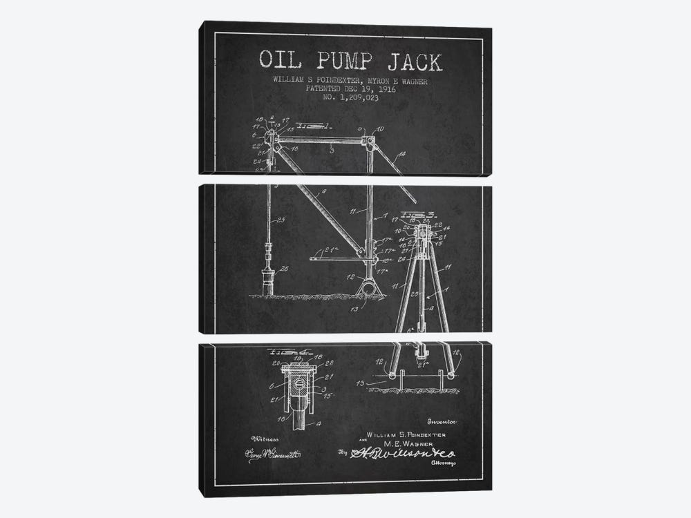 Oil Pump Jack Charcoal Patent Blueprint by Aged Pixel 3-piece Canvas Art Print