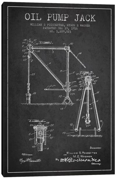 Oil Pump Jack Charcoal Patent Blueprint Canvas Art Print