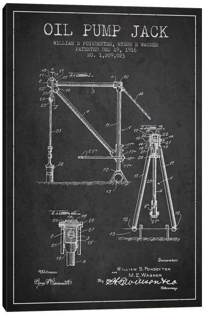 Oil Pump Jack Charcoal Patent Blueprint Canvas Art Print