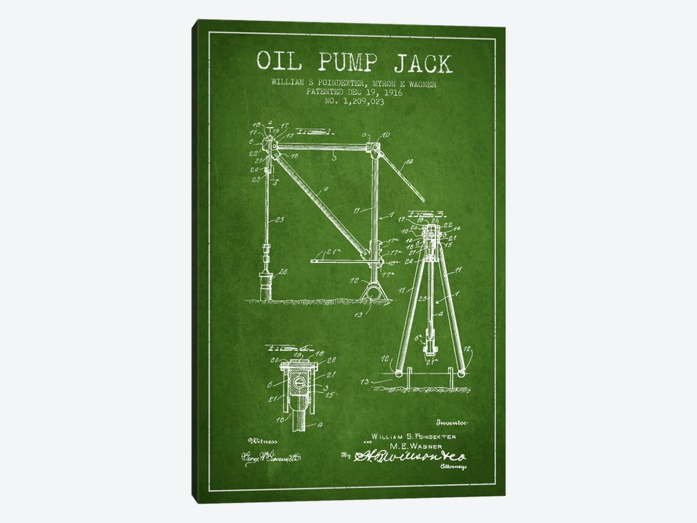Oil Pump Jack Green Patent Blueprint by Aged Pixel 1-piece Canvas Art
