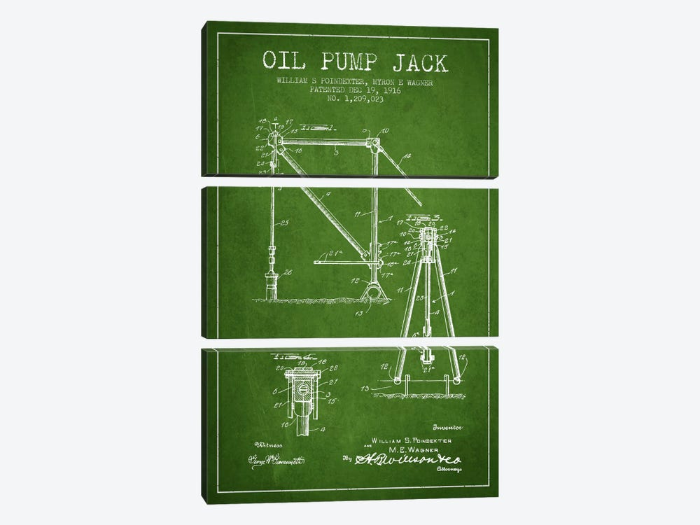Oil Pump Jack Green Patent Blueprint by Aged Pixel 3-piece Canvas Wall Art