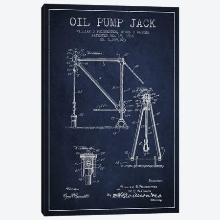 Oil Pump Jack Navy Blue Patent Blueprint Canvas Print #ADP1446} by Aged Pixel Canvas Print