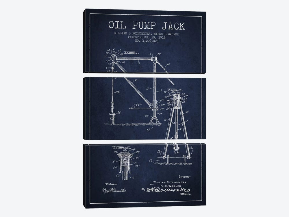 Oil Pump Jack Navy Blue Patent Blueprint by Aged Pixel 3-piece Canvas Art Print
