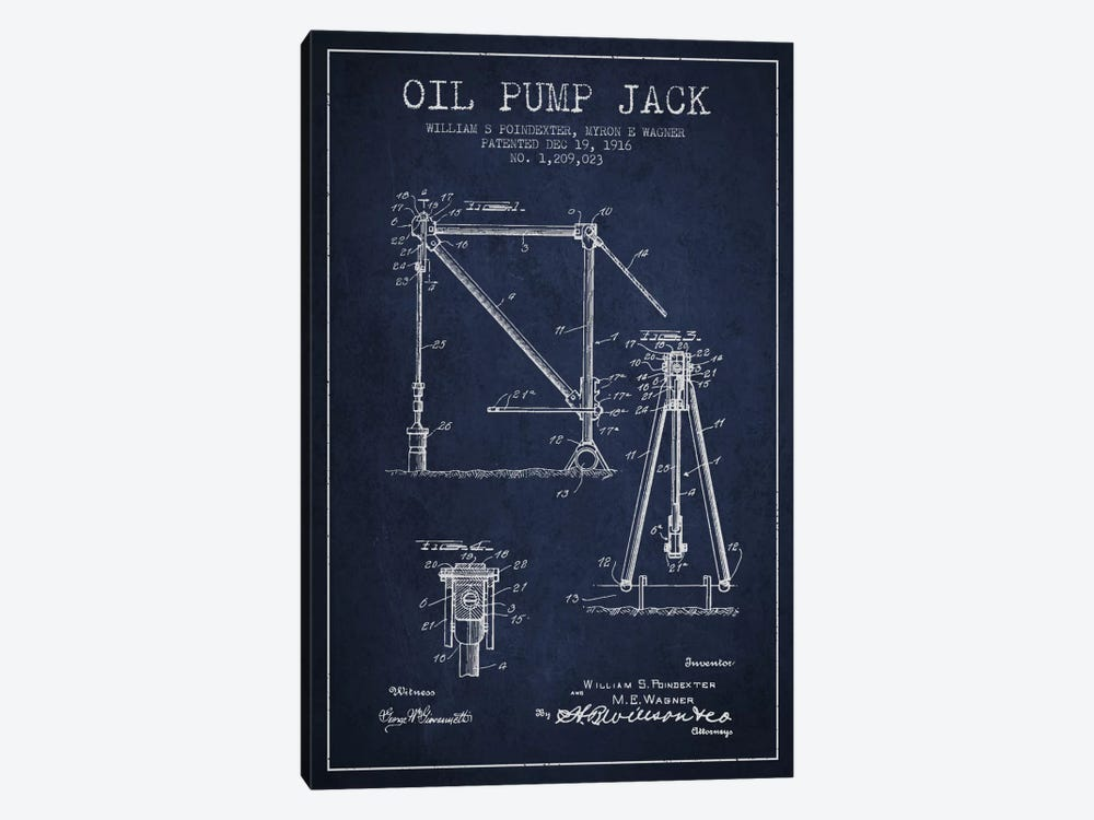 Oil Pump Jack Navy Blue Patent Blueprint by Aged Pixel 1-piece Art Print