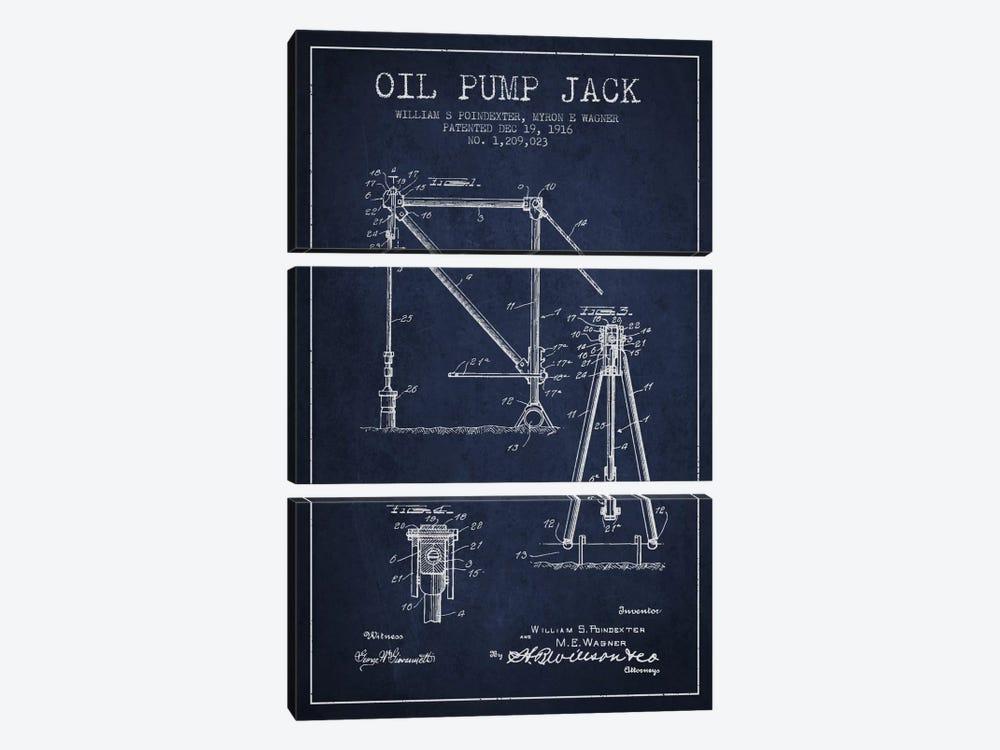 Oil Pump Jack Navy Blue Patent Blueprint by Aged Pixel 3-piece Canvas Art Print
