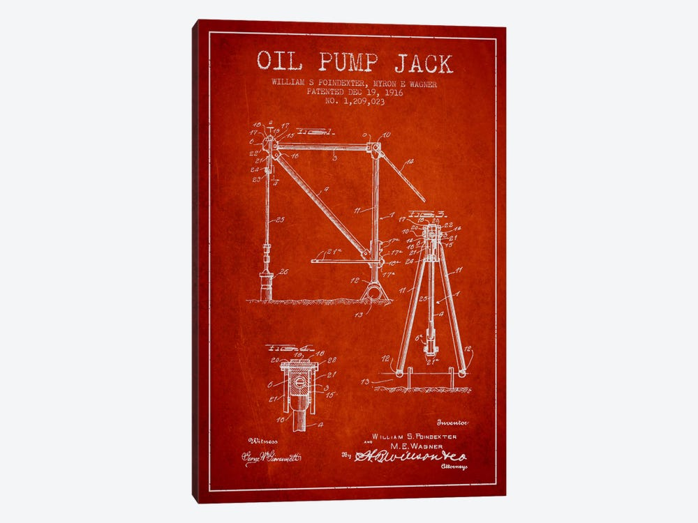 Oil Pump Jack Red Patent Blueprint 1-piece Canvas Wall Art