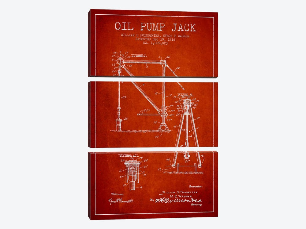 Oil Pump Jack Red Patent Blueprint 3-piece Canvas Art