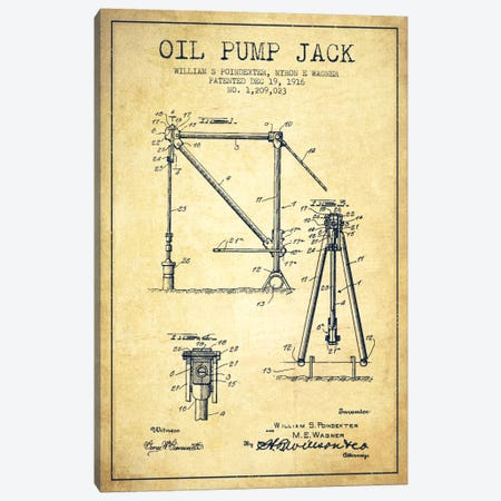 Oil Pump Jack Vintage Patent Blueprint Canvas Print #ADP1448} by Aged Pixel Canvas Artwork