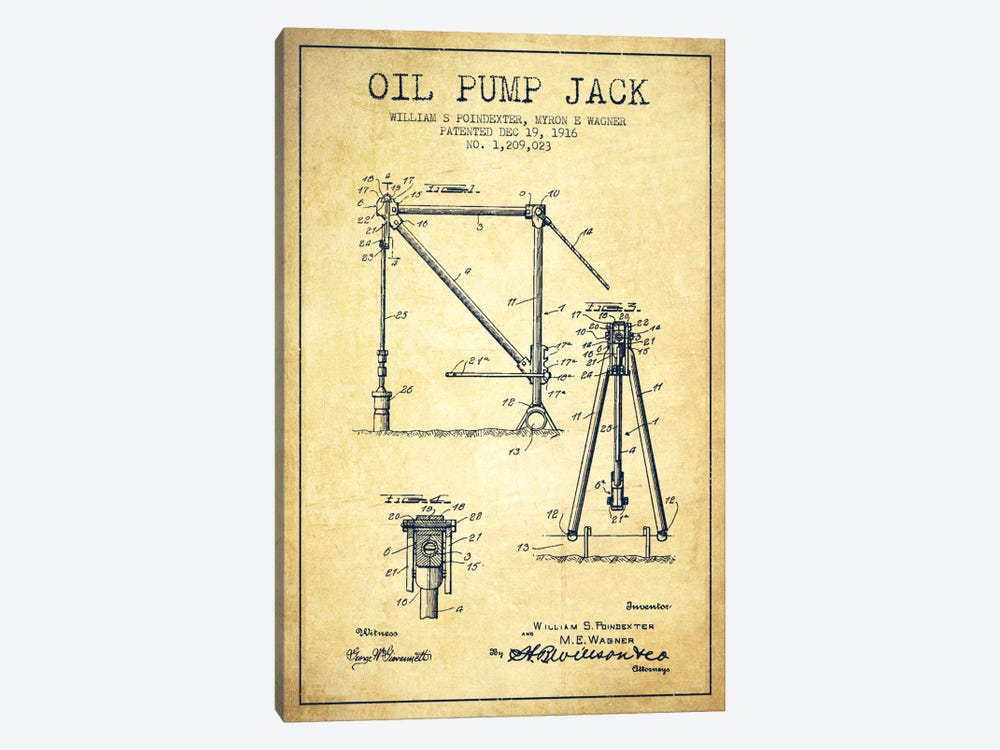 Oil Pump Jack Vintage Patent Blueprint by Aged Pixel 1-piece Canvas Art Print