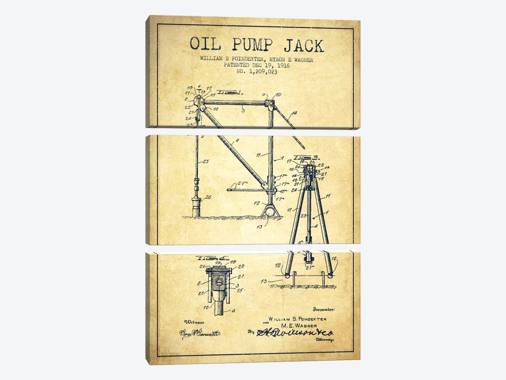 Oil Pump Jack Vintage Patent Blueprint by Aged Pixel 3-piece Canvas Print